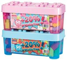 Stavebnice pro děti Maxi Abrick Écoiffier v dóze 50 kostek + 20% kostek zdarma od 12 měsíců modrá/růžová