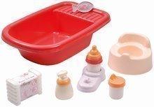 Vană mică pentru păpuşă Nursery Écoiffier cu 8 accesorii roşu de la 18 luni