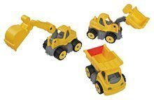 Set pracovných áut do piesku BIG nákladné auto+bager+nakladač–gumené kolesá od 24 mesiacov 23*10*12cm B55000