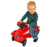 Odrážadlá sety - Set odrážadlo Bobby Classic BIG s klaksónom červené, interaktívny volant a autíčko Mini Bobby na naťahovanie od 12 mes_9
