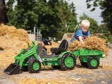 Otroška vozila na pedala - Traktor na pedala Jim Loader BIG z nakladalcem in prikolico zelen_0