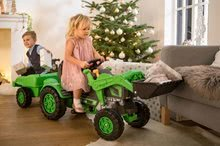 Otroška vozila na pedala - Traktor na pedala Jim Loader BIG z nakladalcem in prikolico zelen_22