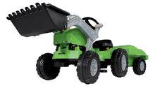 Detské šliapacie vozidlá - Traktor na šliapanie Jimmy BIG s nakladačom a vlečkou zelený_1