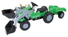 Detské šliapacie vozidlá - Traktor na šliapanie Jimmy BIG s nakladačom a vlečkou zelený_2