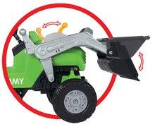 Detské šliapacie vozidlá - Traktor na šliapanie Jimmy BIG s nakladačom a vlečkou zelený_6
