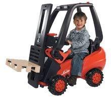 Detské šliapacie vozidlá - Vysokozdvižný vozík na šliapanie Linde BIG s paletou červeno-čierny_3