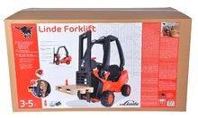 Detské šliapacie vozidlá - Vysokozdvižný vozík na šliapanie Linde BIG s paletou červeno-čierny_10