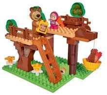 Joc de construit Maşa şi ursul Locuința în copac PlayBIG Bloxx cu 2 figurine şi cu 60 de piese