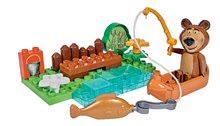Építőjáték Mása és a medve PlayBIG Bloxx BIG Medve a kenuban 23 darabos 1 figura