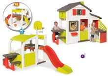 Komplet hišica Prijateljev Smoby s kuhinjo in zvončkom in igralo Fun Center s toboganom