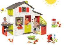 Set căsuţă Prieteni Smoby cu bucătărie mică, cu sonerie şi aparat de gofree cu mixer, cu aparat de cafea şi gofriuri