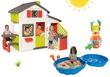 Set domeček Přátel s kuchyňkou Smoby a zvonkem, pískoviště Mušle a kbelík set s mlýnem