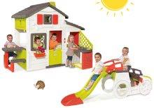 Szett házikó Barátok Smoby konyhával és csengővel és mászóka Autó homokozóval és csúszdával hossza 150 cm