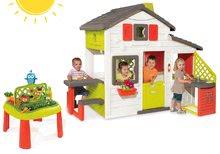 Set domeček Přátel Smoby s kuchyňkou a zvonkem a stůl Zahradník De Jardinage od 3 let