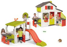 Set domček Priateľov Smoby s kuchynkou a zvončekom a hracie centrum Fun Center so šmykľavkou