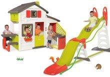 Set domček Priateľov Smoby s kuchynkou a zvončekom a šmykľavka Super Megagliss 2v1