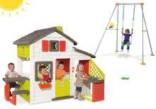 Set căsuţă Prieteni Smoby cu bucătărie mică și leagăn Portique cu construcţie metalică