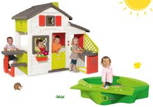 Set detský domček Priateľov Smoby s kuchynkou a pieskovisko Sandy s krytom a vodnou dráhou