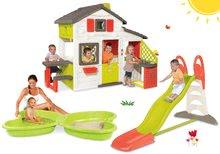 Szett Barátok házikó Smoby konyhácskával+csúszdaToboggan XL 2,3 m Pillangó homokozóval