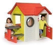 Hišica My House Smoby z 2 vratci, elektronskim zvončkom in piknik mizico