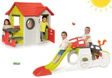 Set căsuţă My House Smoby cu sonerie, 2 uşi şi căţărătoare Adventure Car cu nisipar şi tobogan de la 24 luni
