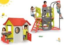 Set căsuţă My House Smoby cu sonerie, 2 uşi şi căţărătoare Multi-Activity Tower cu tobogan de la 24 luni