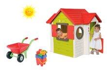 Set căsuţă My House Smoby cu sonerie electronică, roabă cu set de găletuţe de la 24 luni
