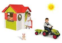Set domeček My House s elektronickým zvonkem Smoby a traktor Claas GM s přívěsem od 24 měsíců