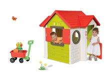 Set căsuţă My House Smoby cu sonerie electronică şi maşinuţă tractabilă cu set de găletuţe de la 24 luni