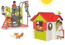Căsuţă My House Smoby cu 2 uşi+centru de căţărat Multi-Activity Tower cu tobogan şi cu bară pentru căţărat de la 24 luni