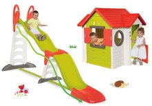 Domček My House Smoby s 2 dverami+šmykľavka Toboggan Super Megagliss 2v1 dĺžka 3,75/1,5 m SM810402-20