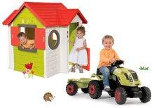 Komplet hišica My House Smoby z elektronskim zvoncem in traktor Claas GM s prikolico od 24 mes