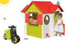 Set domeček My House s elektronickým zvonkem Smoby a odrážedlo motorka Racing Bike od 24 měsíců