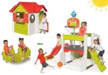 Set căsuţă My House Smoby cu sonerie cu 2 uşi şi centru de joacă Fun Center cu tobogan şi balansoar Focă de la 24 luni