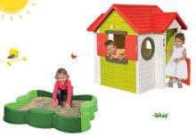 Set domeček My House Smoby se zvonkem a 2 dveřmi a pískoviště čtyřlístek Vario s plachtou od 24 měsíců
