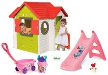 Set căsuţă My House Smoby cu sonerie şi 2 uşi şi tobogan Prinţese Toboggan cu maşinuţă de tras de la 24 luni