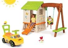 Set domček pre deti Pretty Forest hut Smoby so šmykľavkou a odrážadlo Auto 2v1 od 10 mesiacov