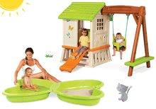 Szett házikó gyerekeknek Pretty Forest Hut Smoby hintával és homokozó Pillangó vízsugárral