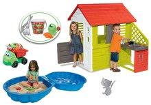 Set domeček pro děti Pretty Nature Smoby s letní kuchyňkou, pískoviště Mušle a sklápěč s vědro setem