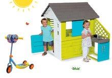 Szett házikó Pretty Blue Smoby nyári kiskonyhával és háromkerekű roller Szenilla nyomában mind Ajándék