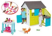 Szett házikó Pretty Blue Smoby nyári kiskonyhával és kiskocsi Délices kosárral 24 hó-tól