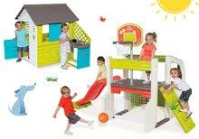 Set detský domček Pretty Blue Smoby s letnou kuchynkou a hracie centrum Fun Center so šmykľavkou od 2 rokov