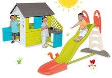 Set domček pre deti Pretty Blue Smoby s letnou kuchynkou a šmykľavka Toboggan XL s vodou od 2 rokov
