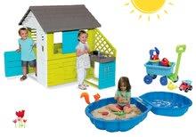 Set dětský domeček Pretty Blue Smoby s letní kuchyňkou, dvoudílné pískoviště Mušle a vozík s vědro setem