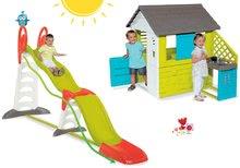 Set detský domček Pretty Blue Smoby s letnou kuchynkou+šmykľavka Super Megagliss 2v1 dĺžka 3,75/1,5 m SM810703-30