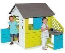 Detský domček Pretty Blue Smoby s letnou kuchynkou a zasúvacou okenicou od 2 rokov