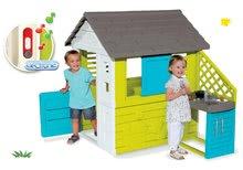 Szett házikó Pretty Blue Smoby nyári kiskonyhával és ajándék elektronikus csengő 24 hó-tól