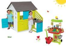 Set domček Pretty Blue Smoby s letnou kuchynkou a zeleninový stánok 100% Chef so 40 doplnkami od 24 mes