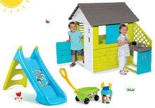 Set domeček Pretty Blue Smoby s letní kuchyňkou, skluzavka Toy Story Toboggan XS s vozíkem od 24 měsíců