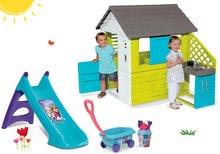 Domčeky so šmykľavkou - Set domček Pretty Blue Smoby s letnou kuchynkou a šmykľavka Toy Story Toboggan XS s vozíkom od 24 mes_20